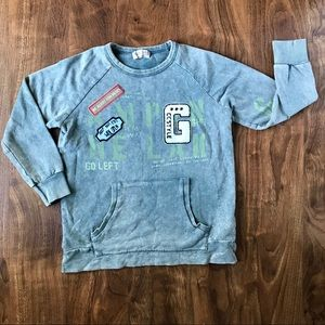 Zara Boys Stonewashed Green Graphic Sweatshirt